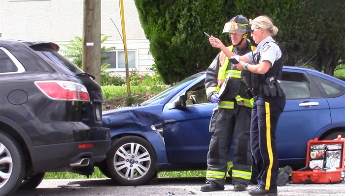 A three-vehicle crash at Boucherie Road and Mission Hill Road, Saturday, July 9, 2016.