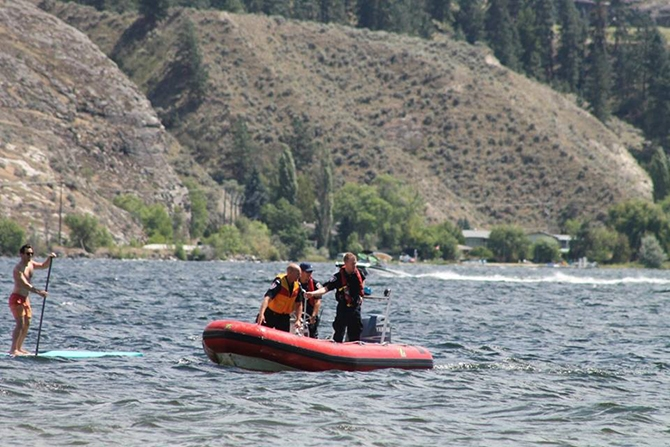 Penticton firefighters pulled an unresponsive man from Skaha Lake near Sudbury Beach on Sunday, July 3, 2016.
