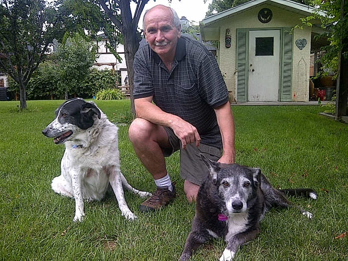Ron Russel with his dogs, Splash and Mellow.