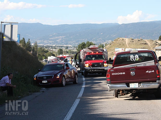 A sedan, two pickup trucks and a coupe were involved in a collision just south of Okanagan Amusements around 5 p.m. today, July 27, 2016.