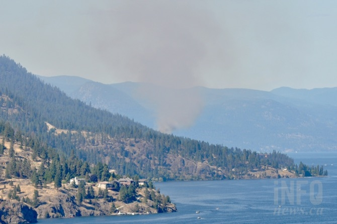 Smoke from a wildfire burning north of Lake Okanagan Resort on the west side of Okanagan Lake can be seen from Knox Mountain in Kelowna.