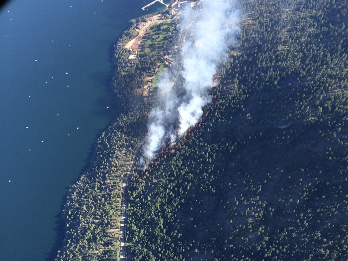 The Cinnabar Creek wildfire north of West Kelowna on the west side of Okanagan Lake can be seen in this aerial photo contributed by the B.C. Wildfire Service, Wednesday, Aug. 17, 2016.