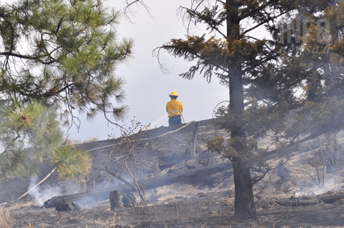 A firefighter works a ridge putting out hot spots in the Bear Creek wildfire, Monday, Aug. 22, 2016