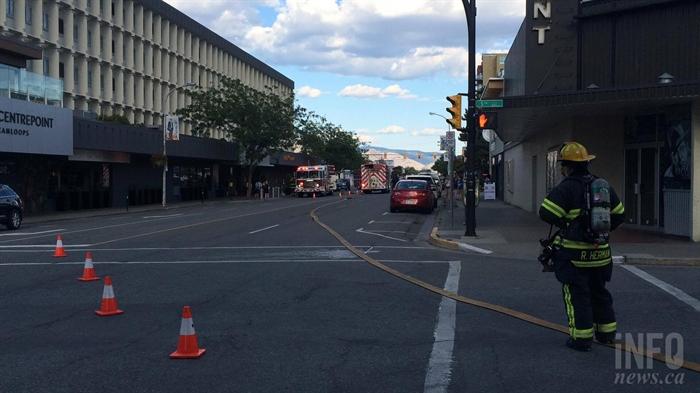 Fire crews blocked off a busy downtown Kamloops street during the afternoon rush hour, Wednesday, Aug. 24, 2016 after reports of smoke coming from an elevator shaft at Hotel 540.