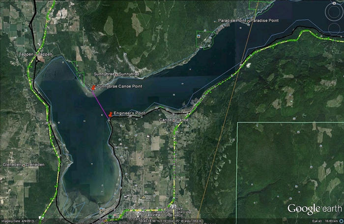 The area of Shuswap Lake closed is southwest of the line between Engineer's Point and Sunnybrae point.