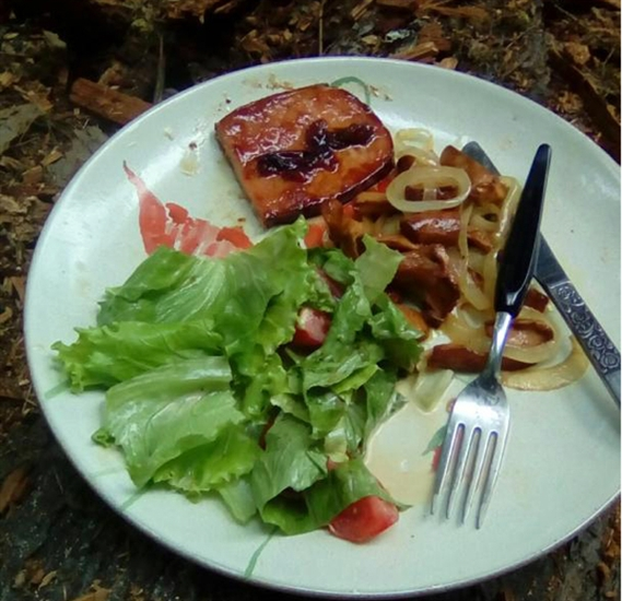 A meal cooked in the bush at a mushroom picking camp near Nakusp. Local veggies and mushrooms were picked around camp just before dinner.