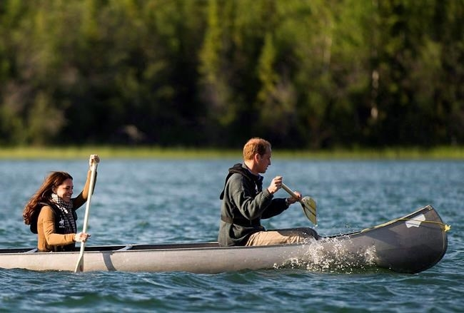 The Duke and Duchess of Cambridge take a canoe ride at Lake Blachford Lake, N.W.T., lodge on July 5, 2011. The couple will visit British Columbia and the Yukon this fall.