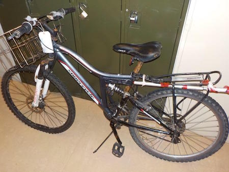 Pictured is the bicycle found at the campsite of the unidentified man.