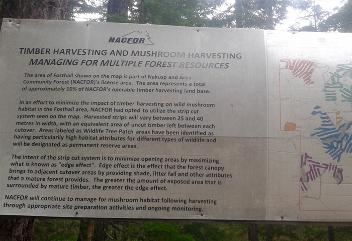 Pictured is a sign posted by a logging company.