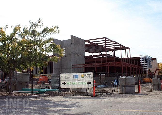 Gateway Casino's new Penticton casino will be completing the outer portion of the building soon, and is on time for completion next year.