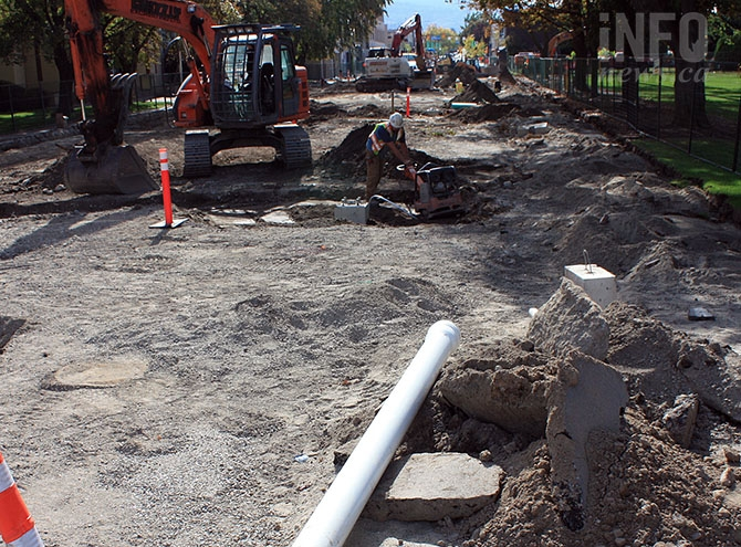 The city is busy finishing up this year's downtown revitalization work on Main Street's 100 block.