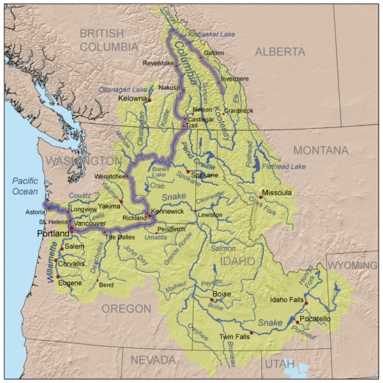 A map of the Columbia River watershed with the Columbia River highlighted.