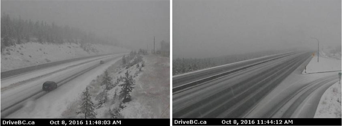 High elevations on the Coquihalla, BC Highway 5, are already seeing winter road conditions.