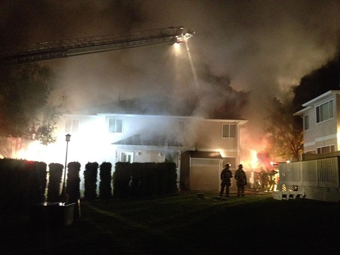 Penticton fire crews spent the night battling a townhouse fire in the 1400 block of Penticton Avenue, Thursday, Oct. 13, 2016.