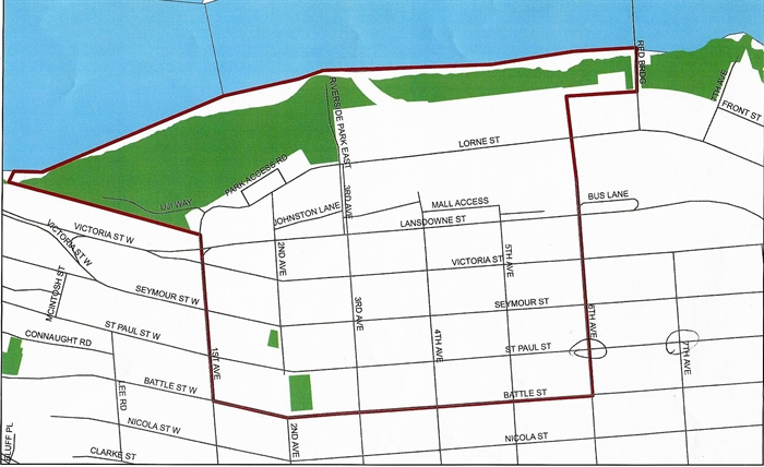 The South Shore red zone includes the area within Battle Street to the south, First Avenue to the west, Sixth Avenue to the east and the Thompson River to the north including the entirety of Riverside and Pioneer parks.