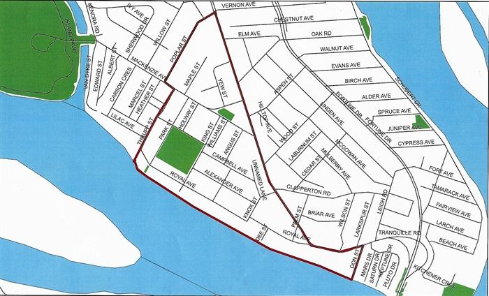 The North Shore red zone applies to the areas within Don Street to the east, Tranquille Road to the north, Poplar and Thrupp Streets to the west and the Thompson River to the south.