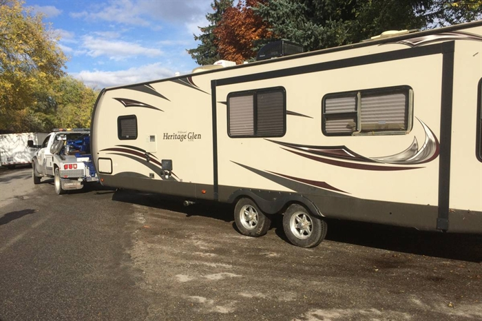 This travel trailer was one of several items seized from a Hells Angels clubhouse during the execution of a search warrant Tuesday, Oct. 25, 2016.