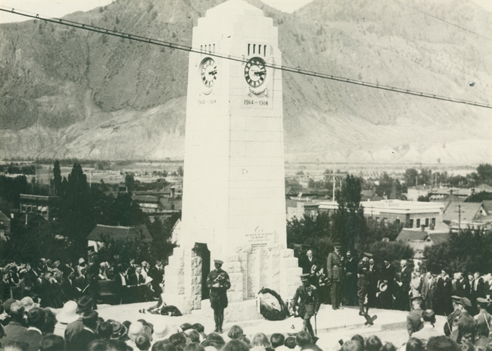 Cenotaph at Unveiling on May 24, 1925. Kamloops Museum Archives photo 1524.