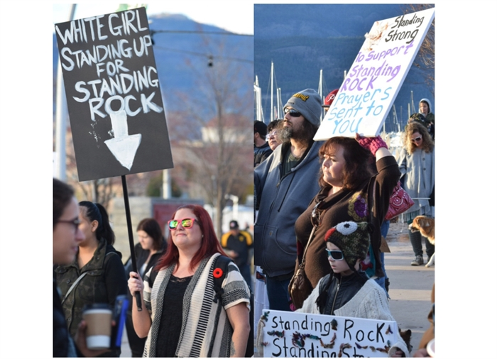 Demonstrators brought homemade signs to the solidarity with Standing Rock rallies.The photos above were taken at the Nov. 6, 2016 rally in Kelowna.