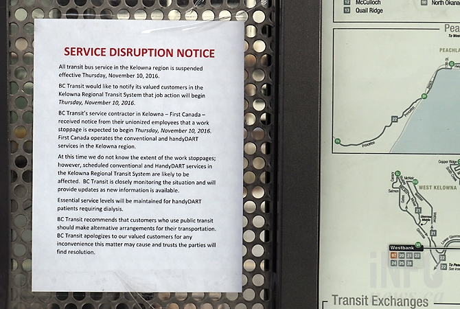 The striking Amalgamated Transit Union local 1722 posted this notice at bus stops in Kelowna, West Kelowna, Peachland and Lake Country.