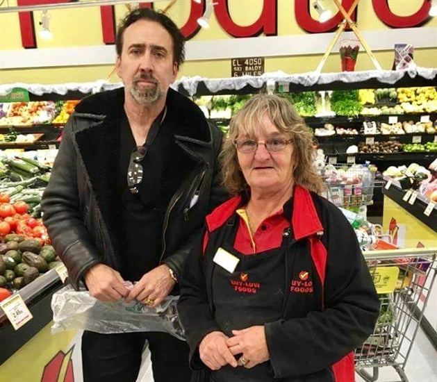 Denise Gray of Osoyoos had her photo taken with actor Nicolas Cage while at at the local Buy Low Foods store where she works, Sunday, Nov. 27, 2016.