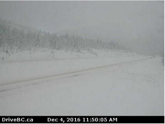 This still is taken from the Coquihalla Lakes DriveBC webcam located on Highway 5, 61 kilometres south of Merritt, looking north.