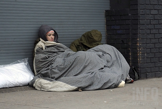 Cheralyn Redford is breaking a new Kelowna bylaw that makes sitting or sleeping on the sidewalk punishable by a $50 fine.