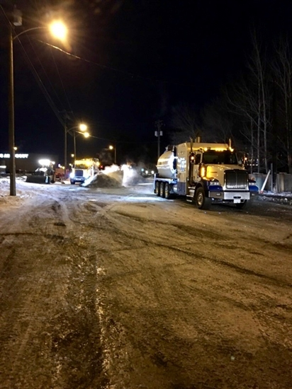 The City of Kamloops used 11 vacuum trucks to deal with a sewage spill after a main broke downtown, Monday, Dec. 12, 2016.