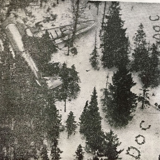 RCAF rescue aircraft's view of a Canadian Pacific DC-3 that crashed on Okanagan Mountain on Dec. 22, 1950.