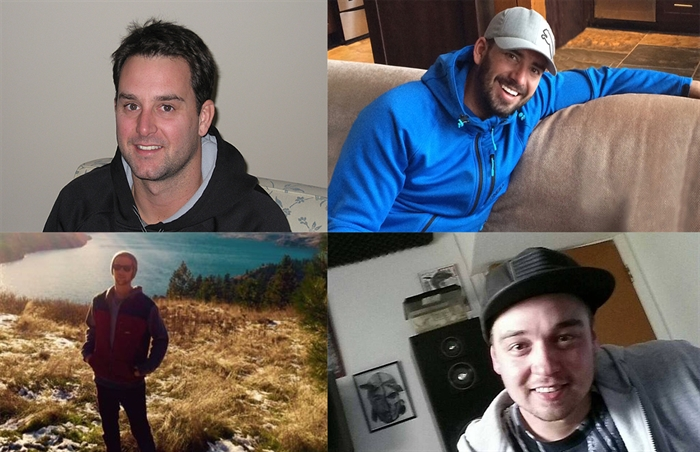Tyler Leinweber (top left), Adam Pouliot (top right), Ryan Pinneo (bottom left) and Tyler Laybolt (bottom right) all died from fentanyl overdoses in 2016.