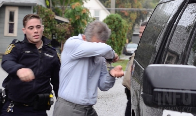 Howard Everett Krewson leaves the Vernon courthouse in handcuffs following the guilty verdict.