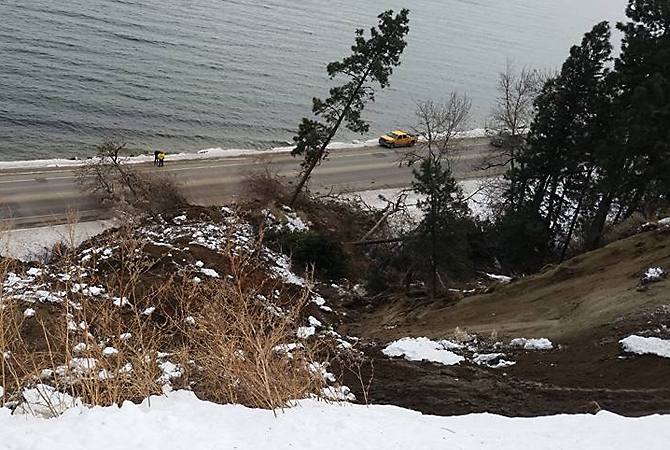 Highway 97 south of Peachland is reduced to single lane alternating after a mudslide Friday, Jan. 6, 2017.
