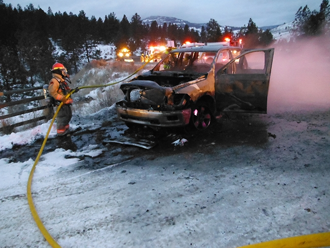 Winter conditions hampered efforts to extinguish a truck fire on Highway 3A near Kaleden, Monday, Jan. 17, 2017.