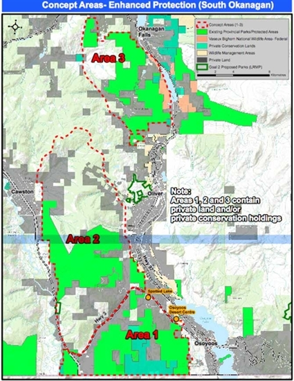 The province announced today, Jan.. 27, 2017, it  is continuing discussions regarding land protection in the South Okanagan by various meansof legislation through three protected areas in the region.