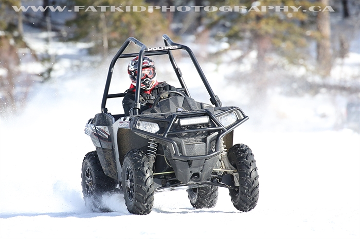 Stu Wymer racing his stock Polaris Ace 900 rubber class ATV at the 2017 Stake Lake ice races.