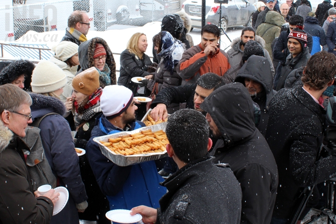 Food was shared with those in attendance at the mosque in Knutsford on Feb. 3, 2017 for a vigil following the Quebec terrorist attack.