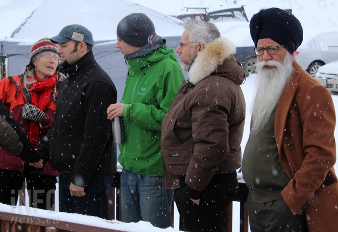 Green Party MLA candidate and city councillor Donovan Cavers (middle) was among the attendees at the mosque in Knutsford Feb. 3 for a vigil to commemorate the Quebec terrorist attack.