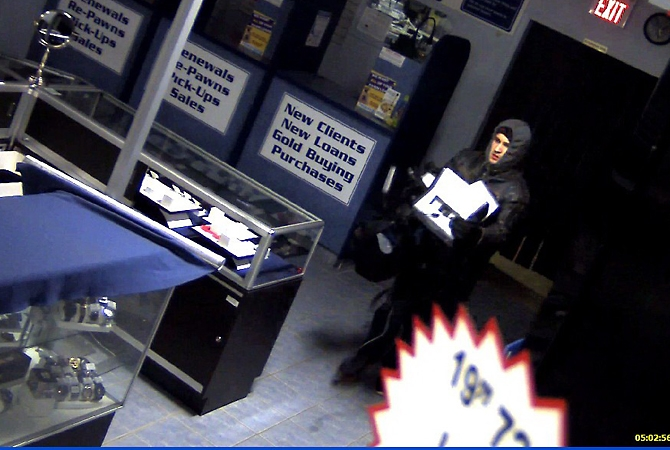 Surveillance footage shows a man police say stole two $30,000 x-ray machines Monday, Feb. 6, 2017.