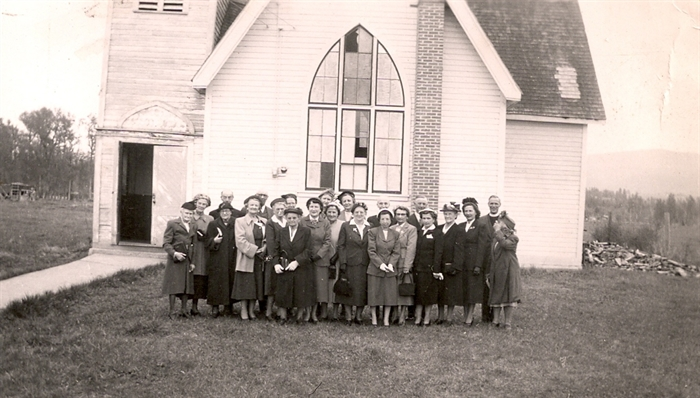 Church congregation and minister in 1952.