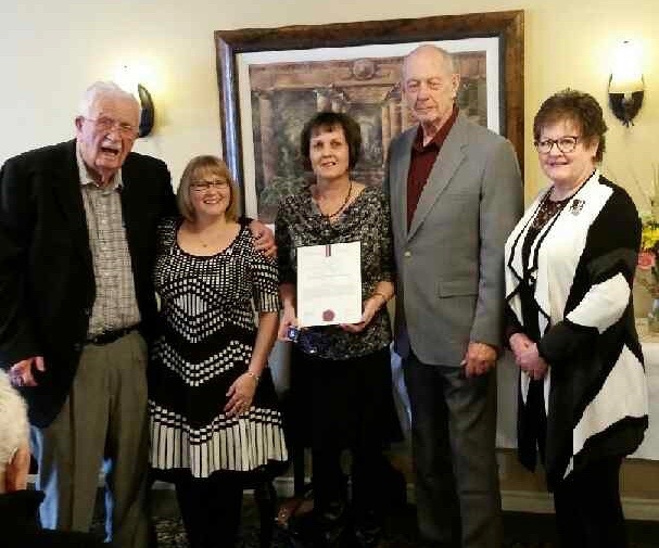 Angela Munson was awarded a Silver Life Saving Award from St. John Ambulance on Feb. 7, 2017. Pictured from left to right: Dr. Sterling Haynes, nominator Vicki Kascak, award recipient Angela Munson, Terry Keenan whose life was saved and Jean Chute with the St. John Society of B.C. and Yukon.