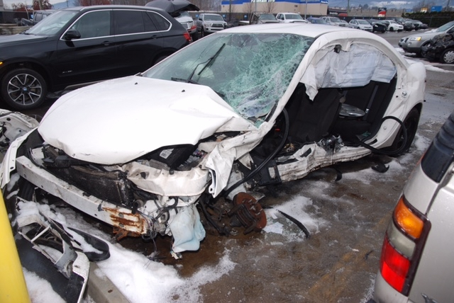 The damaged vehicle Erin Smith and Lindsey Hauck were in the night of the crash.