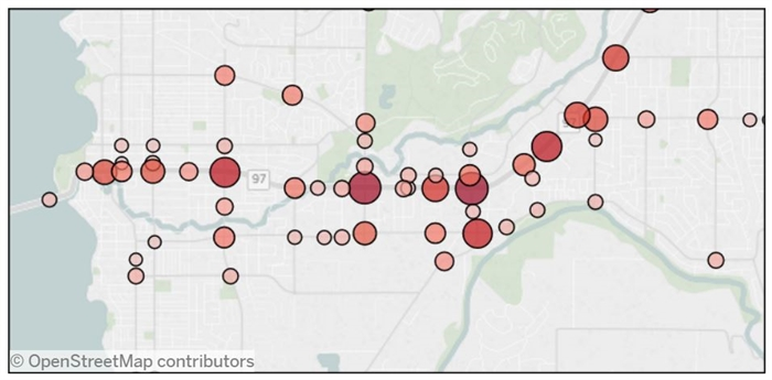 ICBC data shows Kelowna intersections where there were more than 10 collisions in 2015.