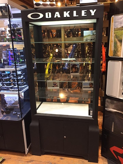 Thieves smashed a display case containing expensive Oakley sunglasses at the Bike Barn early Monday morning, March 14, 2017.