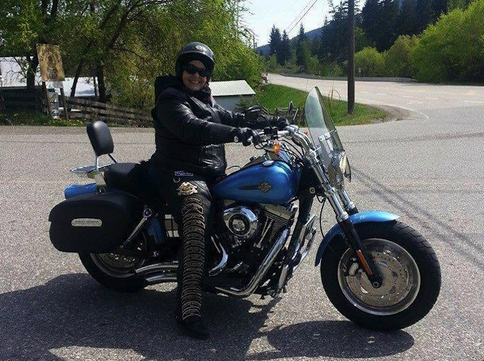 Margaret Thompson, coordinator of the 2017 Western Regional HOG Rally in Kamloops July 13 to 15, on her own motorcycle.