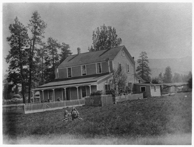 Ellis homestead in 1892 (the location today is on Windsor Ave. off Fairview Road in Penticton), looking much like what Archduke Ferdinand would have witnessed when he called on Penticton pioneer Tom Ellis for provisions for his hunting trip to Brent Mountain in 1893.