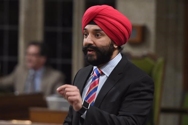 Navdeep Bains, Minister of Innovation, Science and Economic Development, answers a question during Question Period in the House of Commons in Ottawa, Tuesday, April 4, 2017.