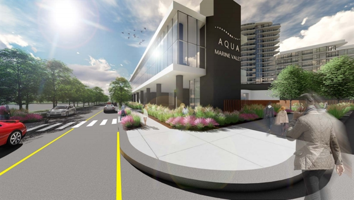 A look at the exterior of the proposed Aqua Marine Valet building.