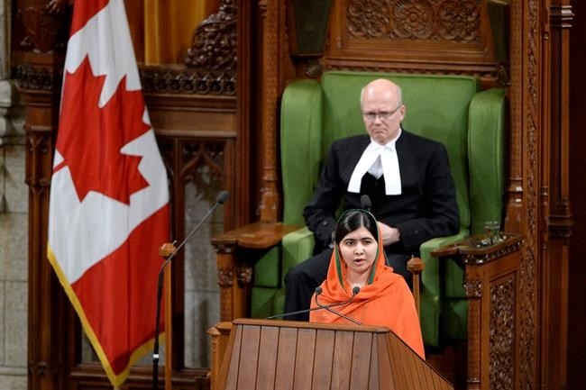 Pakistani activist and Nobel Peace Prize winner Malala Yousafzai addresses the House of Commons on Parliament Hill in Ottawa on Wednesday, April 12, 2017.