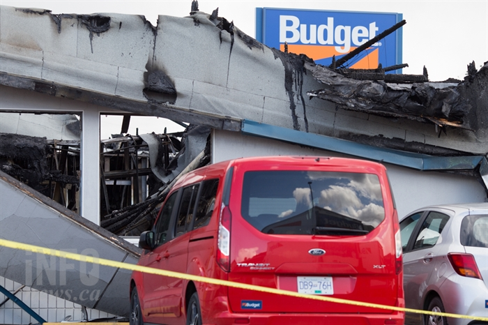 The Notre Dame Drive Budget Rental Car shop has been reduced to near rubble after a fire tore through the building early today, April 14, 2017. .