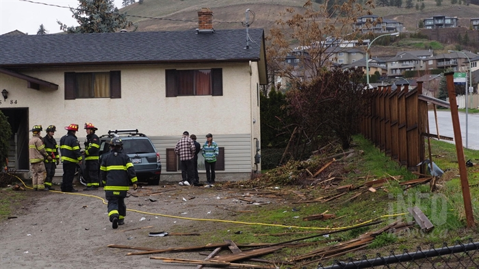 Kelowna firefighters on the scene after a vehicle crashed into a house on the corner of Loseth Drive and Highway 33 in Rutland.